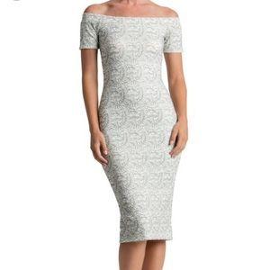 Dress the population Bardot white lace dress